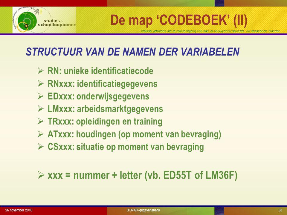 Onderzoek gefinancierd door de Vlaamse Regering in het kader van het programma 'Steunpunten voor Beleidsrelevant Onderzoek' STRUCTUUR VAN DE NAMEN DER