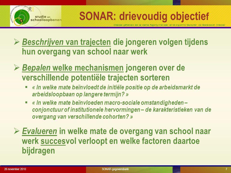 Onderzoek gefinancierd door de Vlaamse Regering in het kader van het programma 'Steunpunten voor Beleidsrelevant Onderzoek' 26 november 20107 SONAR: d