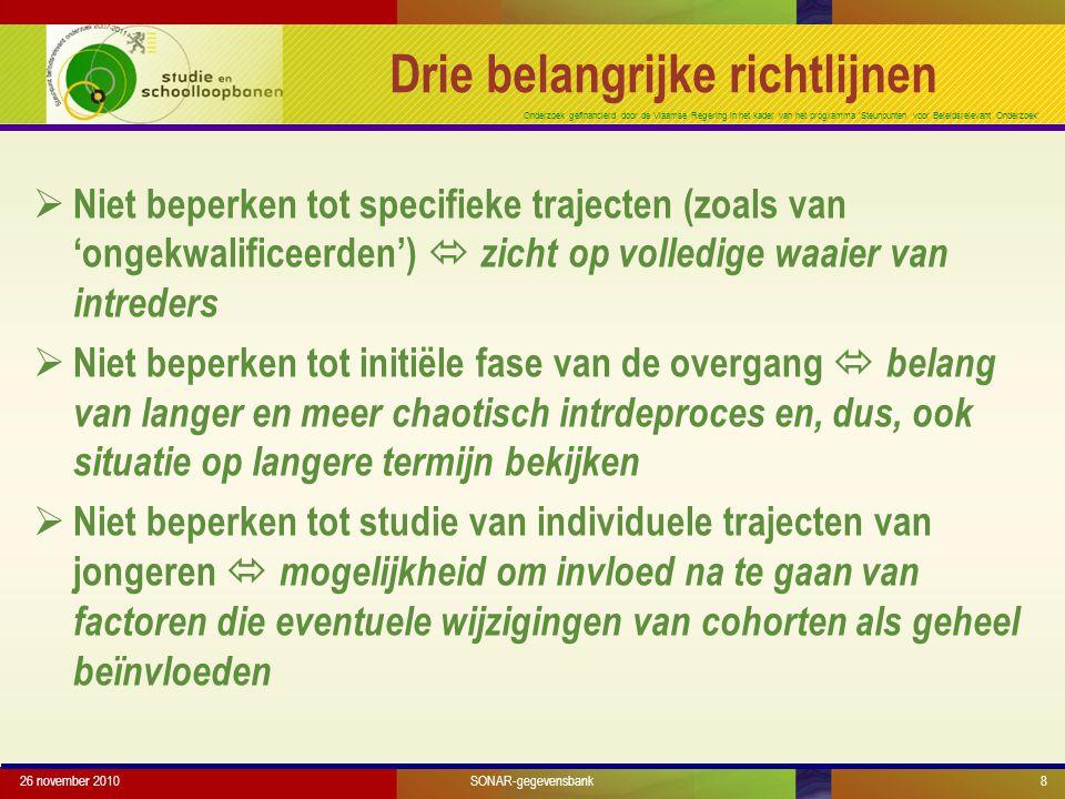 Onderzoek gefinancierd door de Vlaamse Regering in het kader van het programma 'Steunpunten voor Beleidsrelevant Onderzoek' 26 november 20108 Drie belangrijke richtlijnen  Niet beperken tot specifieke trajecten (zoals van 'ongekwalificeerden')  zicht op volledige waaier van intreders  Niet beperken tot initiële fase van de overgang  belang van langer en meer chaotisch intrdeproces en, dus, ook situatie op langere termijn bekijken  Niet beperken tot studie van individuele trajecten van jongeren  mogelijkheid om invloed na te gaan van factoren die eventuele wijzigingen van cohorten als geheel beïnvloeden SONAR-gegevensbank