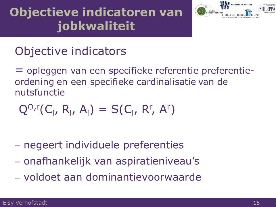 Objectieve indicatoren van jobkwaliteit Objective indicators = opleggen van een specifieke referentie preferentie- ordening en een specifieke cardinal