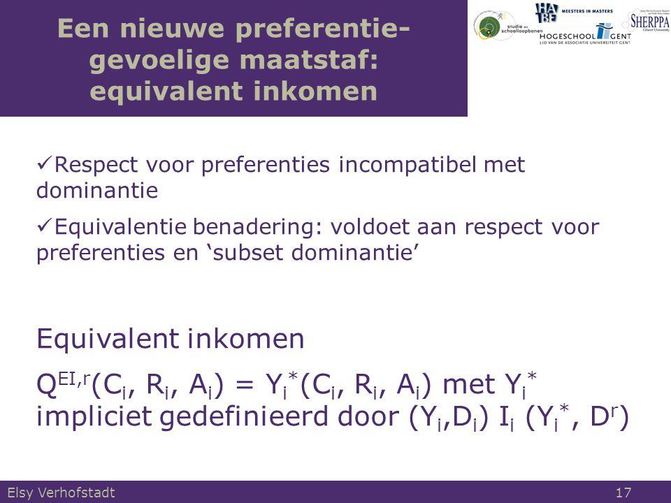 Een nieuwe preferentie- gevoelige maatstaf: equivalent inkomen Respect voor preferenties incompatibel met dominantie Equivalentie benadering: voldoet aan respect voor preferenties en 'subset dominantie' Equivalent inkomen Q EI,r (C i, R i, A i ) = Y i * (C i, R i, A i ) met Y i * impliciet gedefinieerd door (Y i,D i ) I i (Y i *, D r ) Elsy Verhofstadt 17