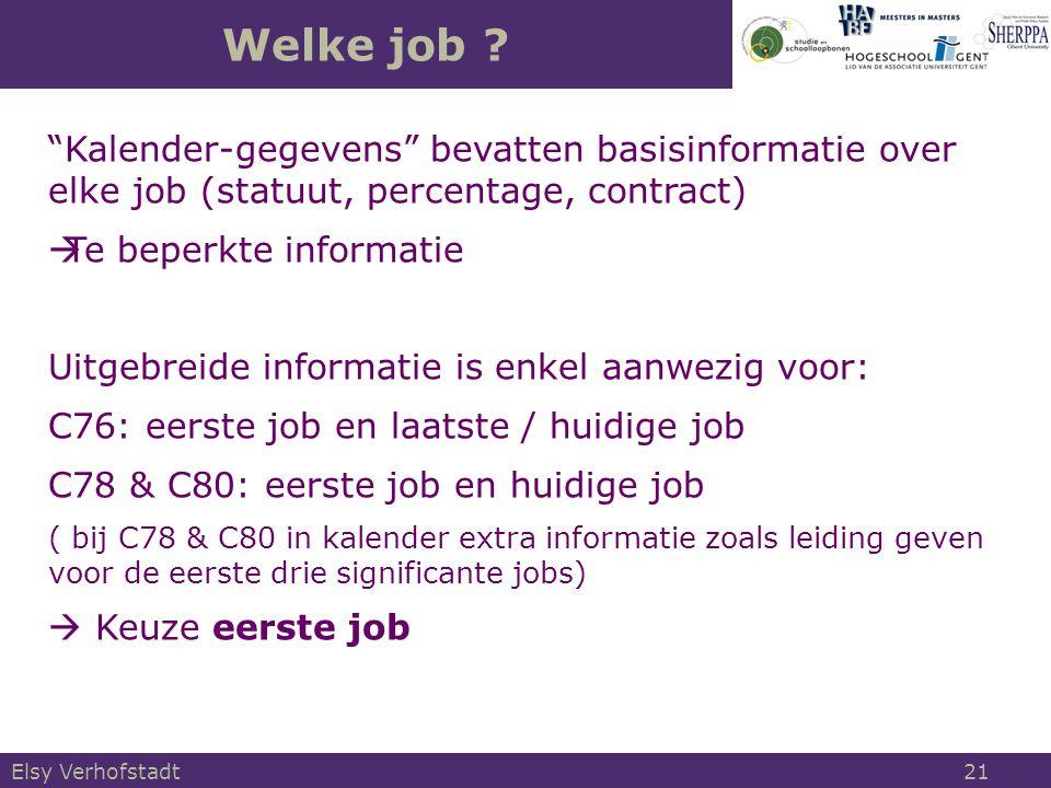 """Welke job ? Elsy Verhofstadt 21 """"Kalender-gegevens"""" bevatten basisinformatie over elke job (statuut, percentage, contract)  Te beperkte informatie Ui"""