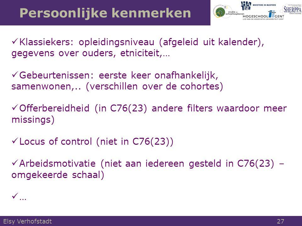 Persoonlijke kenmerken Elsy Verhofstadt 27 Klassiekers: opleidingsniveau (afgeleid uit kalender), gegevens over ouders, etniciteit,… Gebeurtenissen: e