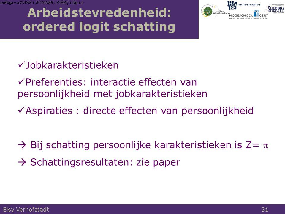 Arbeidstevredenheid: ordered logit schatting Jobkarakteristieken Preferenties: interactie effecten van persoonlijkheid met jobkarakteristieken Aspiraties : directe effecten van persoonlijkheid  Bij schatting persoonlijke karakteristieken is Z=   Schattingsresultaten: zie paper Elsy Verhofstadt 31