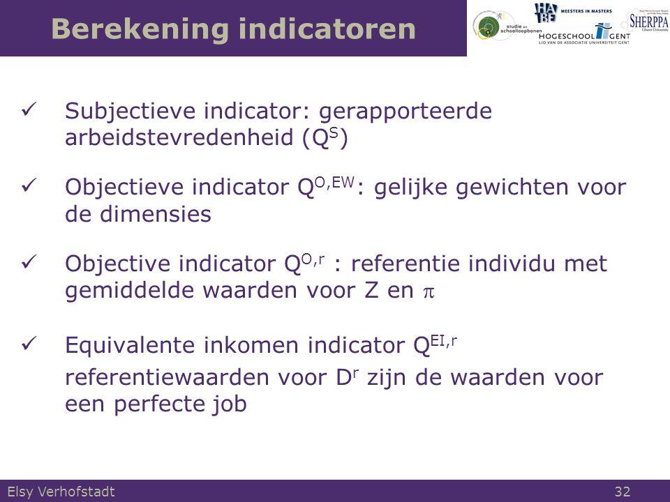 Berekening indicatoren Subjectieve indicator: gerapporteerde arbeidstevredenheid (Q S ) Objectieve indicator Q O,EW : gelijke gewichten voor de dimensies Objective indicator Q O,r : referentie individu met gemiddelde waarden voor Z en  Equivalente inkomen indicator Q EI,r referentiewaarden voor D r zijn de waarden voor een perfecte job Elsy Verhofstadt 32