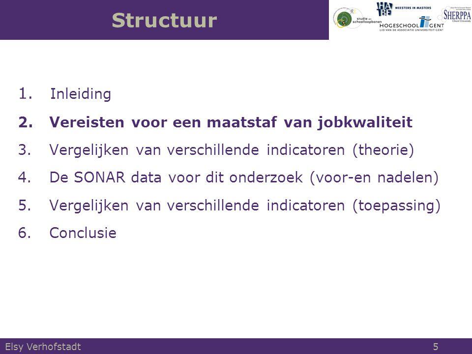 1. Inleiding 2.Vereisten voor een maatstaf van jobkwaliteit 3.Vergelijken van verschillende indicatoren (theorie) 4.De SONAR data voor dit onderzoek (