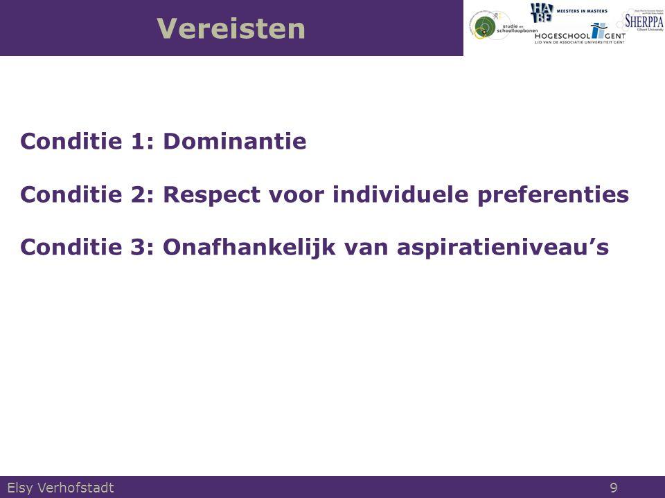 Vereisten Conditie 1: Dominantie Conditie 2: Respect voor individuele preferenties Conditie 3: Onafhankelijk van aspiratieniveau's Elsy Verhofstadt 9