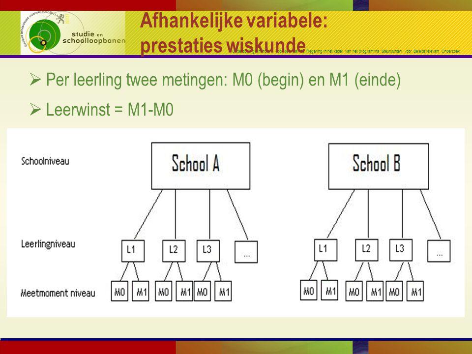 Onderzoek gefinancierd door de Vlaamse Regering in het kader van het programma 'Steunpunten voor Beleidsrelevant Onderzoek' Afhankelijke variabele: prestaties wiskunde  Per leerling twee metingen: M0 (begin) en M1 (einde)  Leerwinst = M1-M0