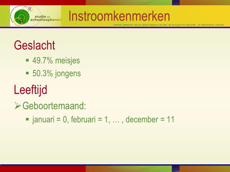 Onderzoek gefinancierd door de Vlaamse Regering in het kader van het programma 'Steunpunten voor Beleidsrelevant Onderzoek' Instroomkenmerken Geslacht  49.7% meisjes  50.3% jongens Leeftijd  Geboortemaand:  januari = 0, februari = 1, …, december = 11