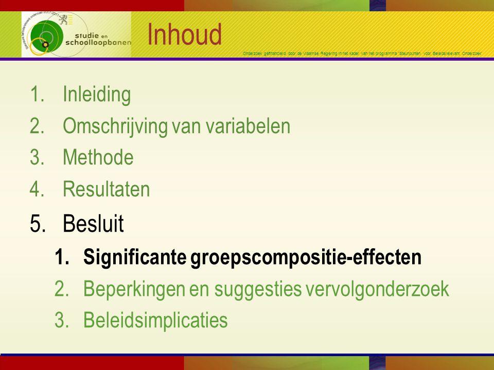 Onderzoek gefinancierd door de Vlaamse Regering in het kader van het programma 'Steunpunten voor Beleidsrelevant Onderzoek' Inhoud 1.Inleiding 2.Omschrijving van variabelen 3.Methode 4.Resultaten 5.Besluit 1.Significante groepscompositie-effecten 2.Beperkingen en suggesties vervolgonderzoek 3.Beleidsimplicaties