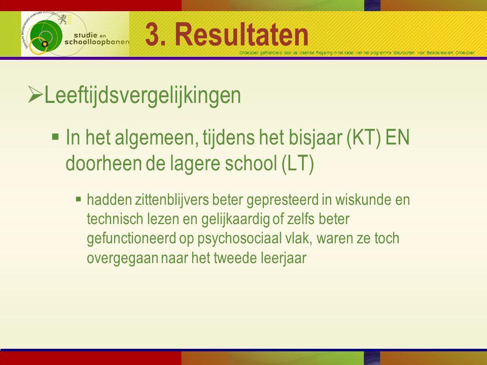 Onderzoek gefinancierd door de Vlaamse Regering in het kader van het programma 'Steunpunten voor Beleidsrelevant Onderzoek' 3. Resultaten  Leeftijdsv