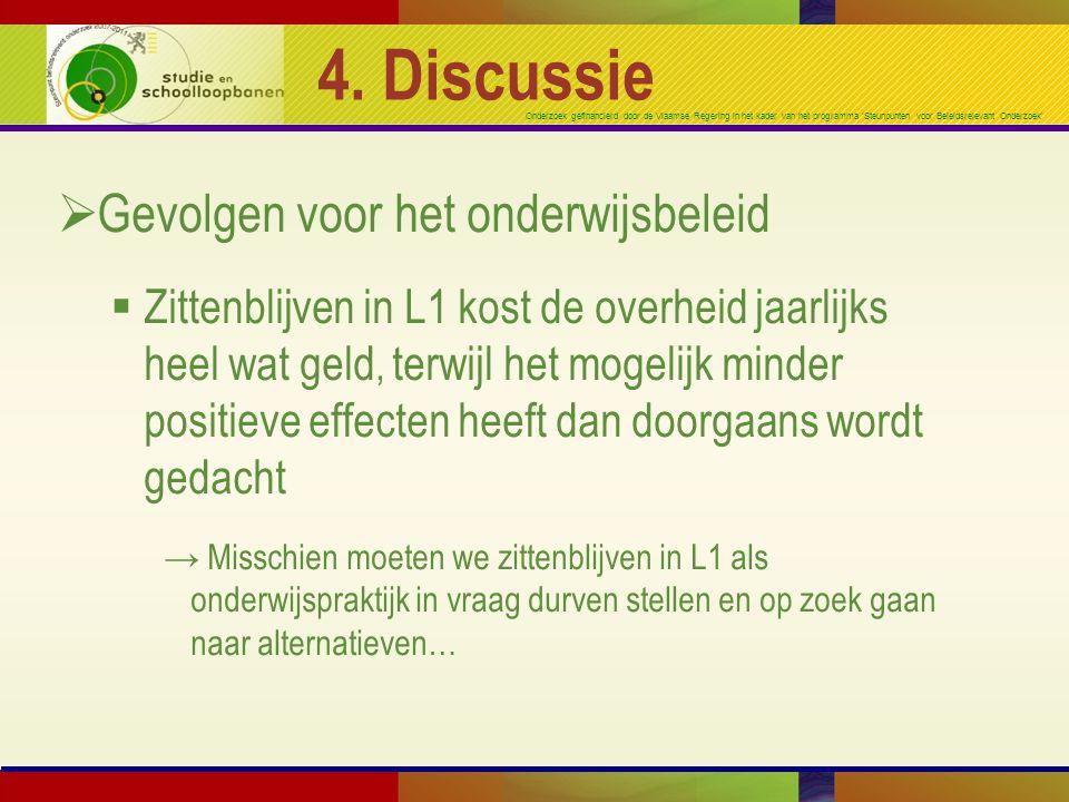 Onderzoek gefinancierd door de Vlaamse Regering in het kader van het programma 'Steunpunten voor Beleidsrelevant Onderzoek' 4. Discussie  Gevolgen vo