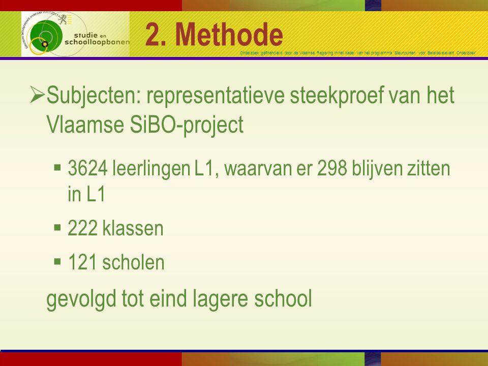 Onderzoek gefinancierd door de Vlaamse Regering in het kader van het programma 'Steunpunten voor Beleidsrelevant Onderzoek' 2. Methode  Subjecten: re