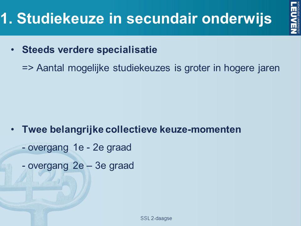 1. Studiekeuze in secundair onderwijs Steeds verdere specialisatie => Aantal mogelijke studiekeuzes is groter in hogere jaren Twee belangrijke collect