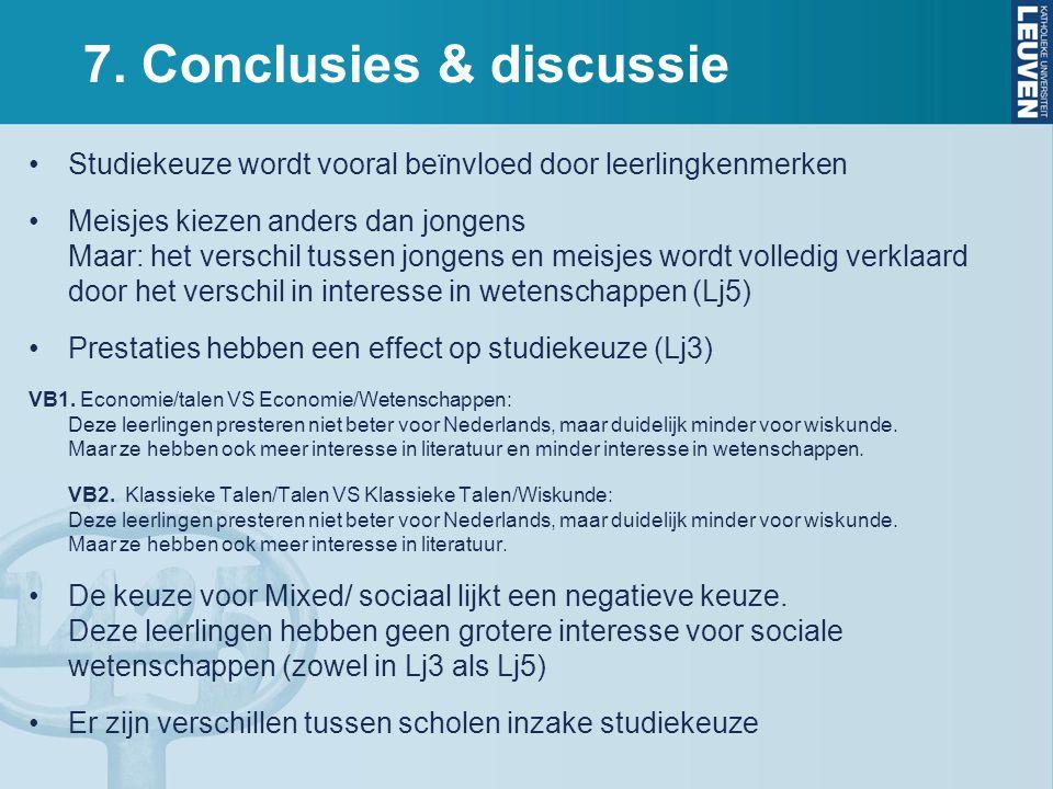 7. Conclusies & discussie Studiekeuze wordt vooral beïnvloed door leerlingkenmerken Meisjes kiezen anders dan jongens Maar: het verschil tussen jongen