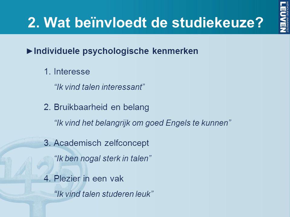► Individuele psychologische kenmerken 1.Interesse Ik vind talen interessant 2.