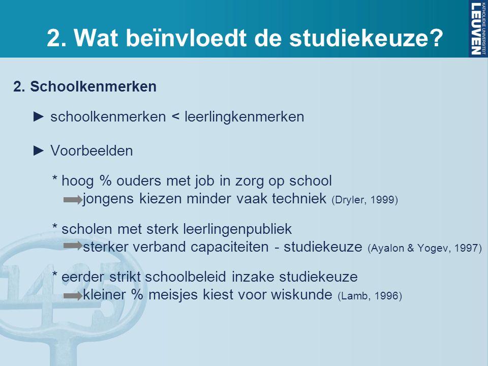 2. Schoolkenmerken ► schoolkenmerken < leerlingkenmerken ► Voorbeelden * hoog % ouders met job in zorg op school jongens kiezen minder vaak techniek (