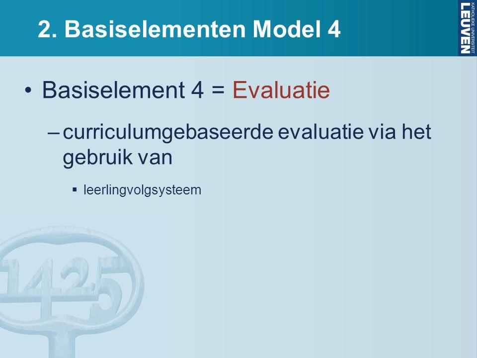 2. Basiselementen Model 4 Basiselement 4 = Evaluatie –curriculumgebaseerde evaluatie via het gebruik van  leerlingvolgsysteem