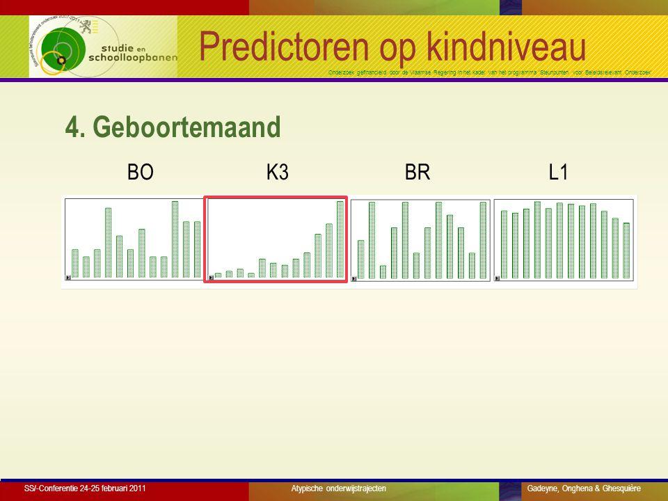 Onderzoek gefinancierd door de Vlaamse Regering in het kader van het programma 'Steunpunten voor Beleidsrelevant Onderzoek' Predictoren op kindniveau 4.
