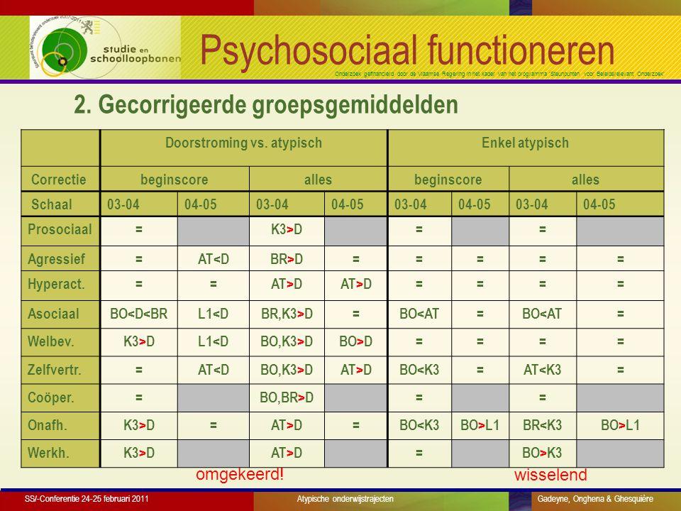 Onderzoek gefinancierd door de Vlaamse Regering in het kader van het programma 'Steunpunten voor Beleidsrelevant Onderzoek' Psychosociaal functioneren Doorstroming vs.