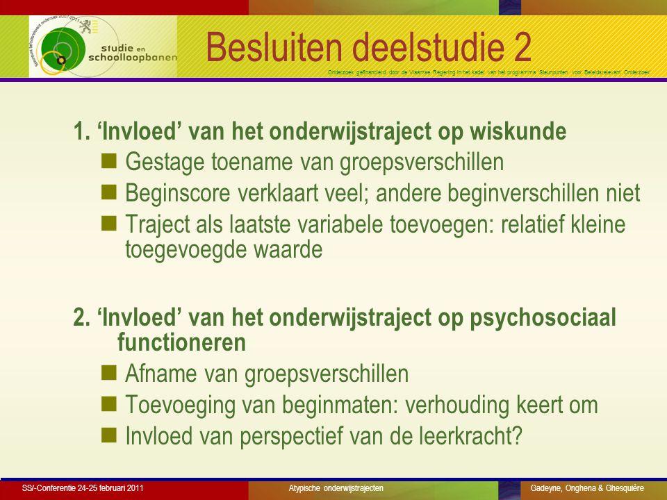 Onderzoek gefinancierd door de Vlaamse Regering in het kader van het programma 'Steunpunten voor Beleidsrelevant Onderzoek' Besluiten deelstudie 2 1.