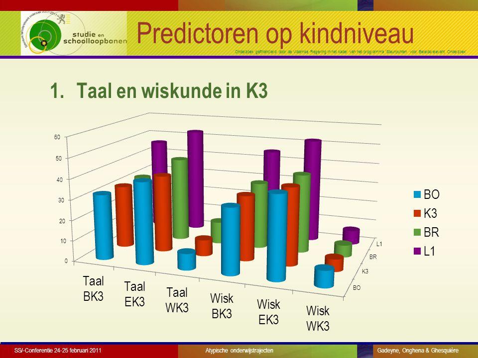 Onderzoek gefinancierd door de Vlaamse Regering in het kader van het programma 'Steunpunten voor Beleidsrelevant Onderzoek' Predictoren op kindniveau 1.Taal en wiskunde in K3 SS/-Conferentie 24-25 februari 2011 Atypische onderwijstrajecten Gadeyne, Onghena & Ghesquière