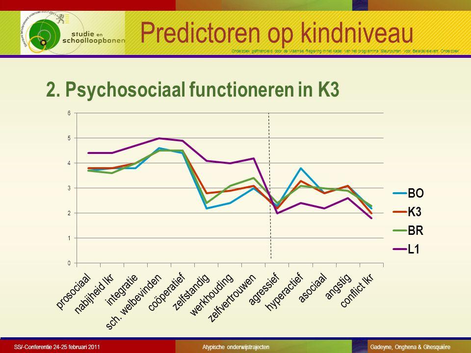 Onderzoek gefinancierd door de Vlaamse Regering in het kader van het programma 'Steunpunten voor Beleidsrelevant Onderzoek' Predictoren op kindniveau 3.