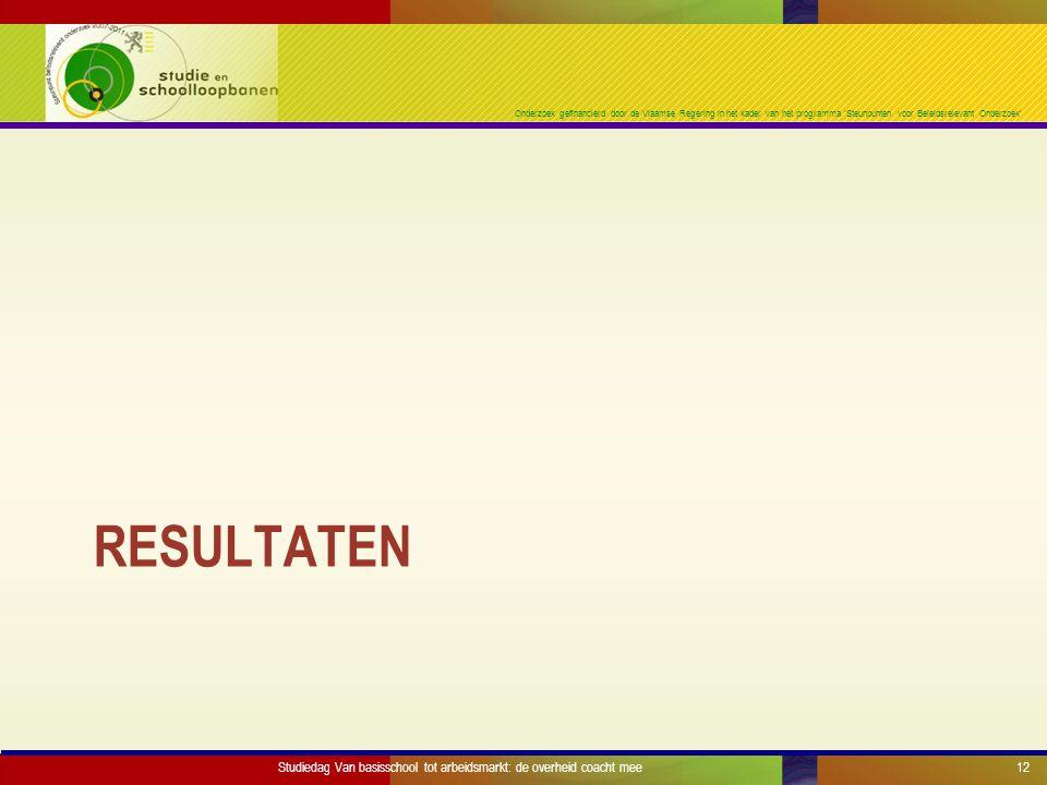Onderzoek gefinancierd door de Vlaamse Regering in het kader van het programma 'Steunpunten voor Beleidsrelevant Onderzoek' RESULTATEN Studiedag Van basisschool tot arbeidsmarkt: de overheid coacht mee12