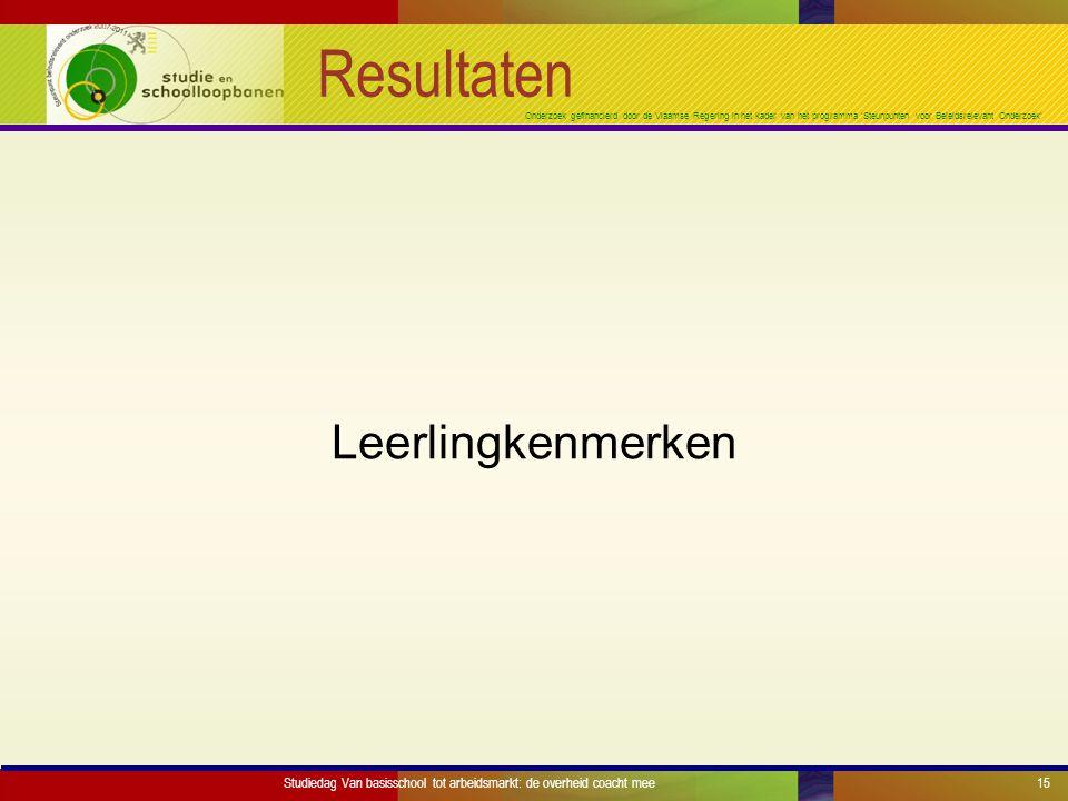 Onderzoek gefinancierd door de Vlaamse Regering in het kader van het programma 'Steunpunten voor Beleidsrelevant Onderzoek' Resultaten Leerlingkenmerken Studiedag Van basisschool tot arbeidsmarkt: de overheid coacht mee15