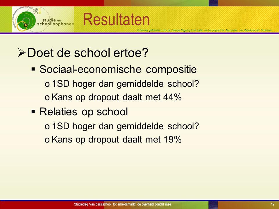 Onderzoek gefinancierd door de Vlaamse Regering in het kader van het programma 'Steunpunten voor Beleidsrelevant Onderzoek' Resultaten  Doet de school ertoe.