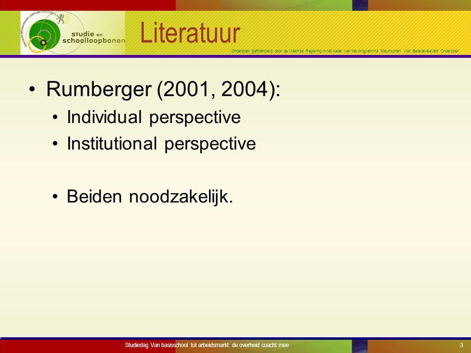 Onderzoek gefinancierd door de Vlaamse Regering in het kader van het programma 'Steunpunten voor Beleidsrelevant Onderzoek' Literatuur Rumberger (2001, 2004): Individual perspective Institutional perspective Beiden noodzakelijk.