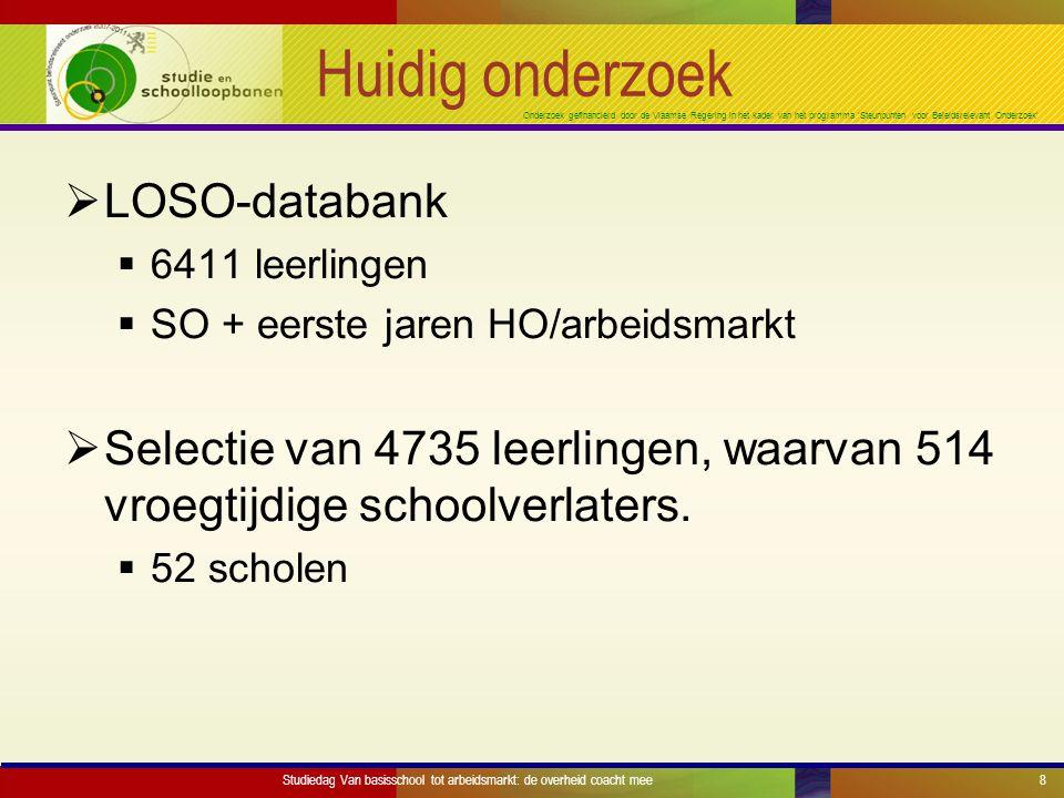 Onderzoek gefinancierd door de Vlaamse Regering in het kader van het programma 'Steunpunten voor Beleidsrelevant Onderzoek' Huidig onderzoek  LOSO-databank  6411 leerlingen  SO + eerste jaren HO/arbeidsmarkt  Selectie van 4735 leerlingen, waarvan 514 vroegtijdige schoolverlaters.