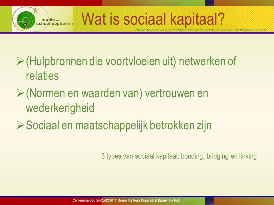 Onderzoek gefinancierd door de Vlaamse Regering in het kader van het programma 'Steunpunten voor Beleidsrelevant Onderzoek' Wat is sociaal kapitaal.