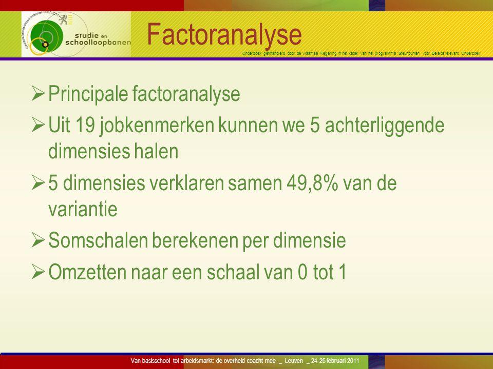 Onderzoek gefinancierd door de Vlaamse Regering in het kader van het programma 'Steunpunten voor Beleidsrelevant Onderzoek' Factoranalyse  Principale