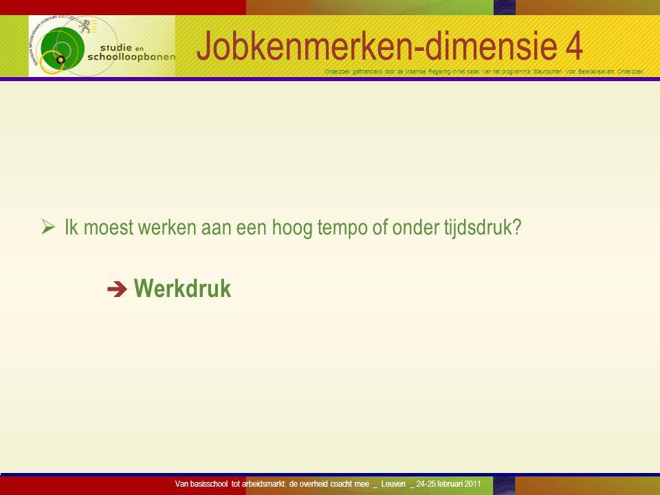 Onderzoek gefinancierd door de Vlaamse Regering in het kader van het programma 'Steunpunten voor Beleidsrelevant Onderzoek' Jobkenmerken-dimensie 4 