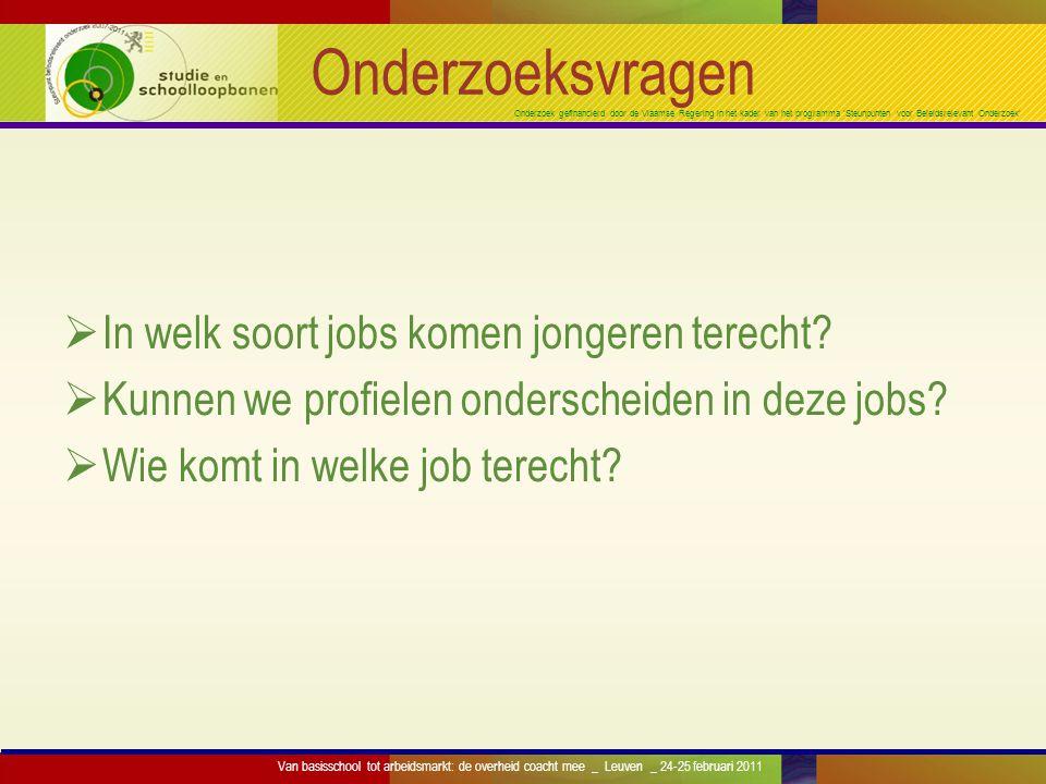 Onderzoek gefinancierd door de Vlaamse Regering in het kader van het programma 'Steunpunten voor Beleidsrelevant Onderzoek' SONAR-databank Aantal respondenten naar geboortecohorte en naar enquêtegolf Interview op 23Interview op 26Interview op 29 COHORTE 1976 3.0152.060 (68,8%)1.657 (55,0%) COHORTE 1978 3.0022.099 (69,9%) - COHORTE 1980 2.993- 1.922 (64,2%) TOTAAL 9.0104.1593.579 Van basisschool tot arbeidsmarkt: de overheid coacht mee _ Leuven _ 24-25 februari 2011