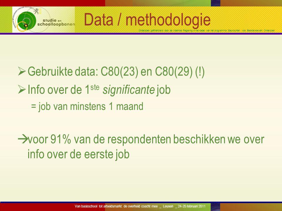 Onderzoek gefinancierd door de Vlaamse Regering in het kader van het programma 'Steunpunten voor Beleidsrelevant Onderzoek' Data / methodologie  Gebr