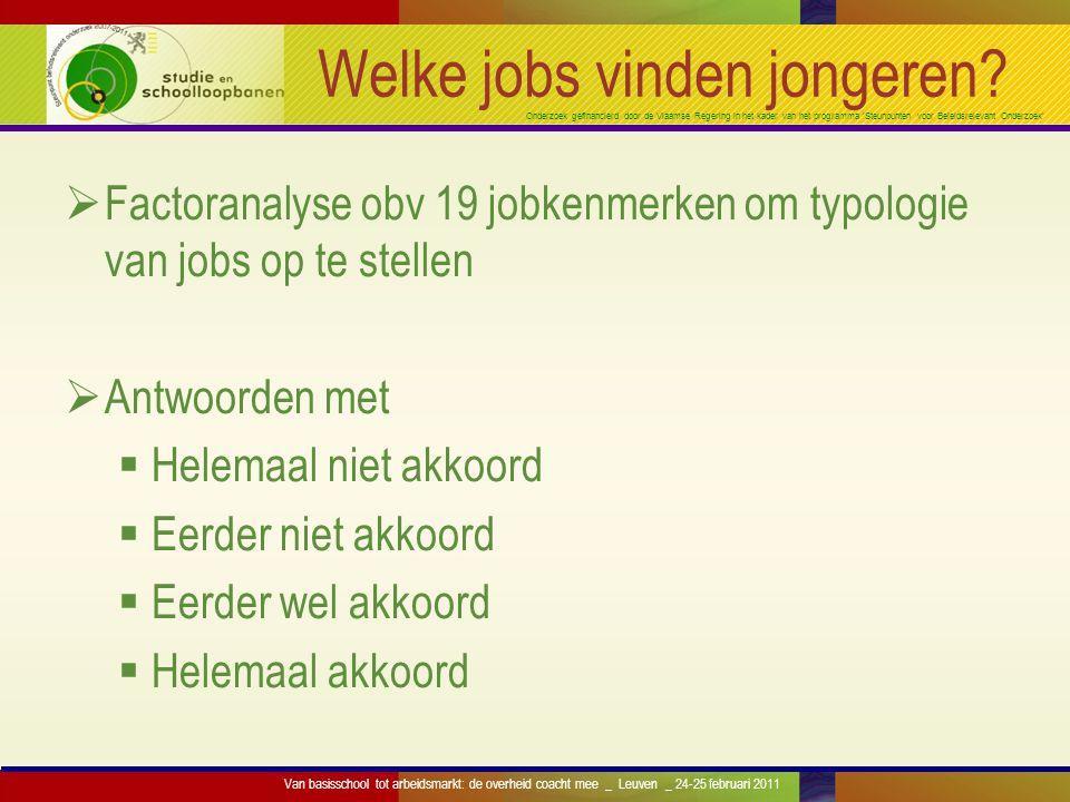 Onderzoek gefinancierd door de Vlaamse Regering in het kader van het programma 'Steunpunten voor Beleidsrelevant Onderzoek' Geslacht Mannen (1364) Vrouwen (1294) Uitdaging 0,630,62 Fysieke belasting 0,400,28 Autonomie 0,400,41 Werkdruk 0,580,56 Samenwerken 0,850,86 Min=0, max=1 Van basisschool tot arbeidsmarkt: de overheid coacht mee _ Leuven _ 24-25 februari 2011