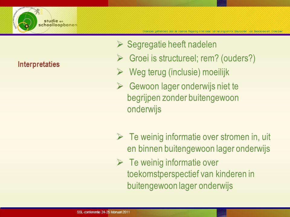 Onderzoek gefinancierd door de Vlaamse Regering in het kader van het programma 'Steunpunten voor Beleidsrelevant Onderzoek' Interpretaties  Segregatie heeft nadelen  Groei is structureel; rem.
