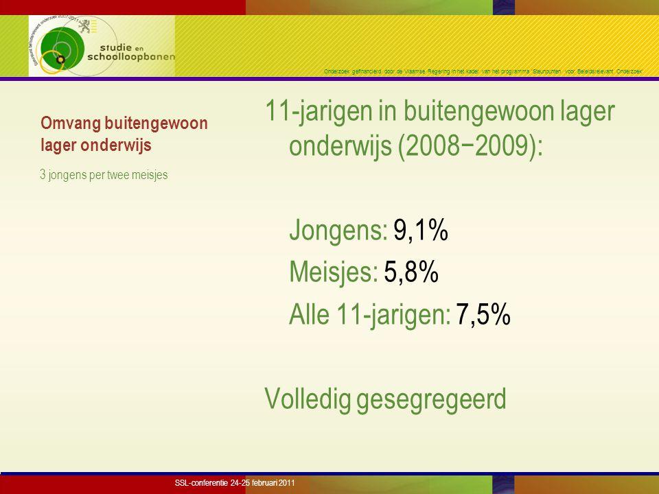 Onderzoek gefinancierd door de Vlaamse Regering in het kader van het programma 'Steunpunten voor Beleidsrelevant Onderzoek' Resultaten kort  Breed parallelspoor; minstens 2 decennia groei; volledig gesegregeerd  Vroeg doorverwijzen vermindert late instroom niet  Vooral T8 ('leermoeilijkheden') en T1 ('lichte mentale handicap')  Recent groei vooral in 'kleine' types  Onevenwicht jongens/meisjes SSL-conferentie 24-25 februari 2011