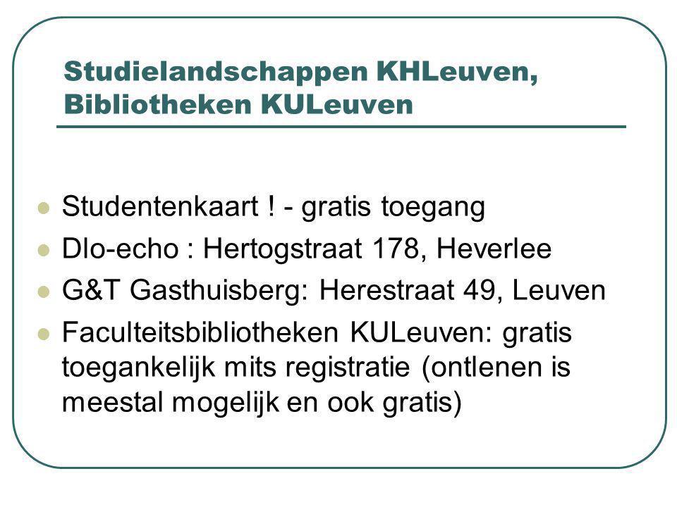 Studielandschappen KHLeuven, Bibliotheken KULeuven Studentenkaart .
