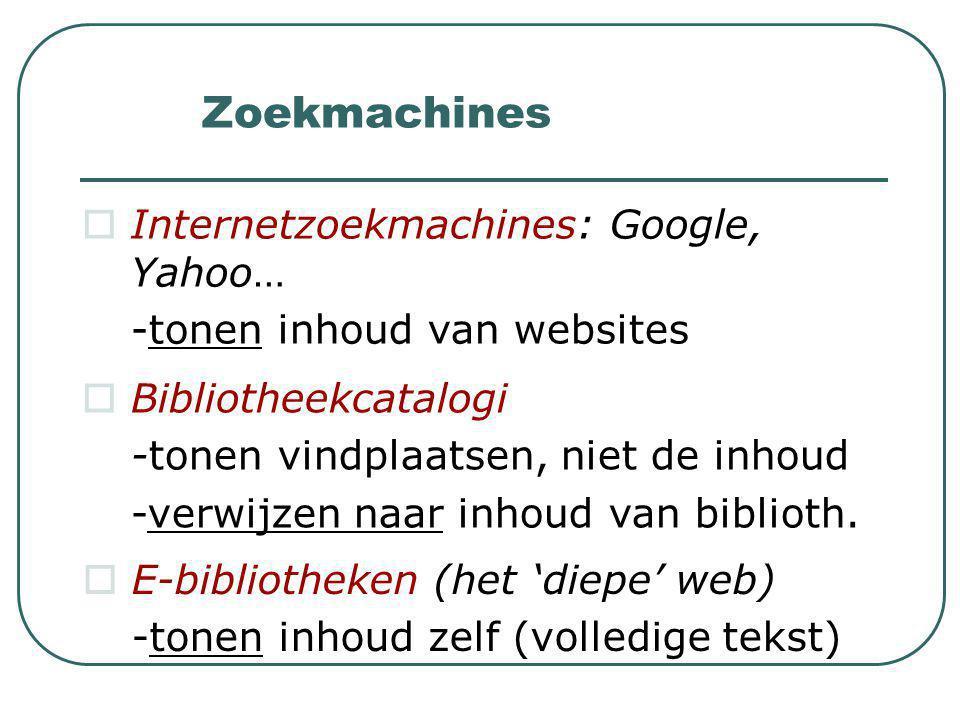 Zoekmachines  Internetzoekmachines: Google, Yahoo… -tonen inhoud van websites  Bibliotheekcatalogi -tonen vindplaatsen, niet de inhoud -verwijzen naar inhoud van biblioth.