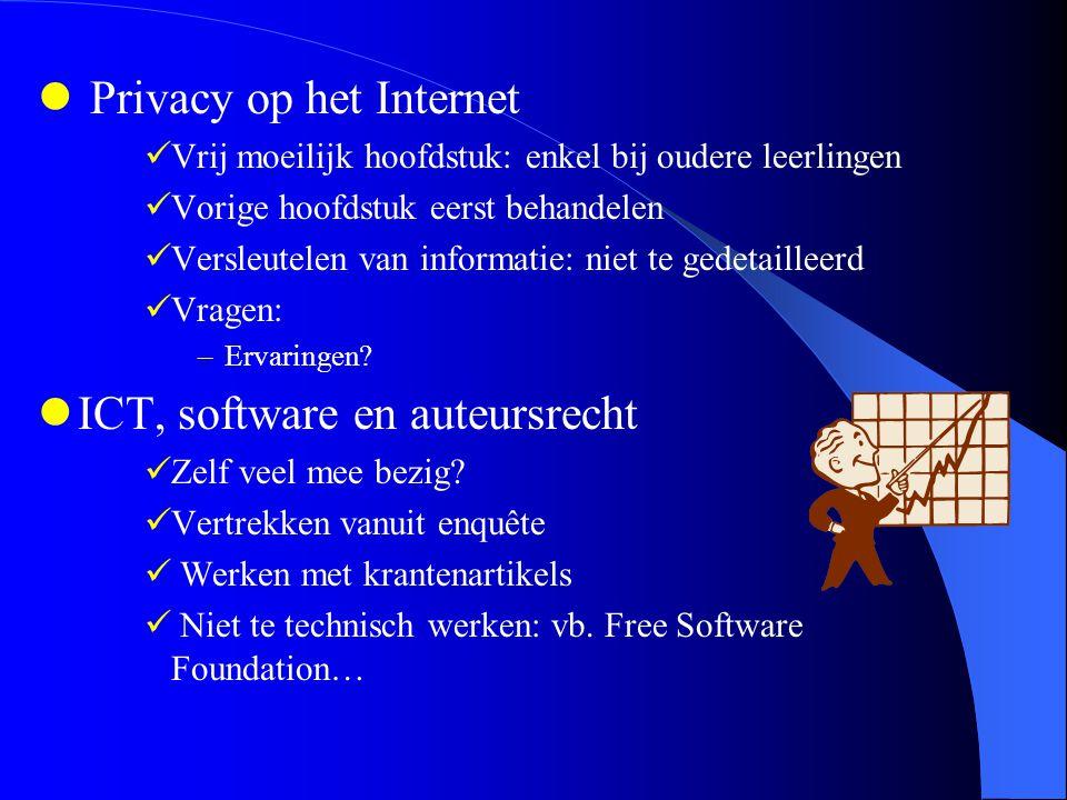 Privacy op het Internet Vrij moeilijk hoofdstuk: enkel bij oudere leerlingen Vorige hoofdstuk eerst behandelen Versleutelen van informatie: niet te gedetailleerd Vragen: –Ervaringen.