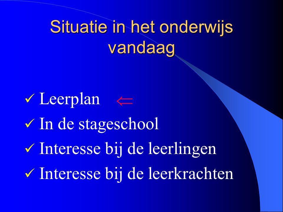 Situatie in het onderwijs vandaag Leerplan In de stageschool Interesse bij de leerlingen Interesse bij de leerkrachten 