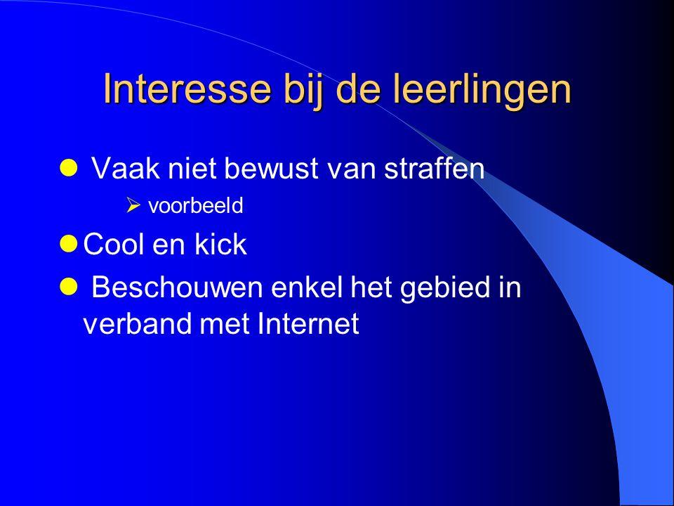 Interesse bij de leerlingen Vaak niet bewust van straffen  voorbeeld Cool en kick Beschouwen enkel het gebied in verband met Internet