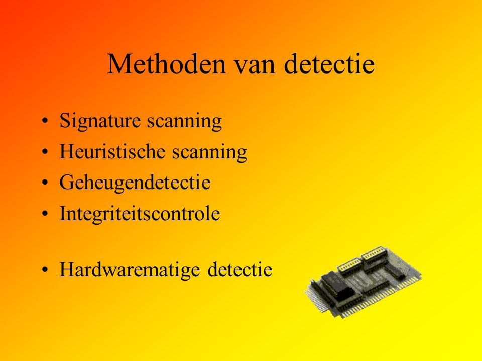 Methoden van detectie Signature scanning Heuristische scanning Geheugendetectie Integriteitscontrole Hardwarematige detectie