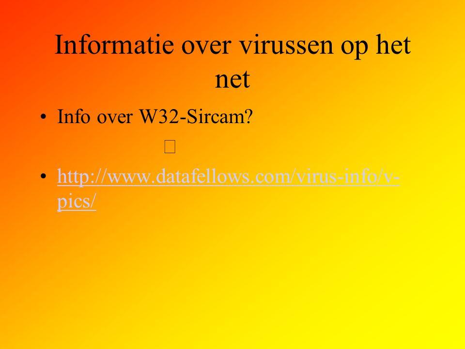 Informatie over virussen op het net Info over W32-Sircam?  http://www.datafellows.com/virus-info/v- pics/http://www.datafellows.com/virus-info/v- pic