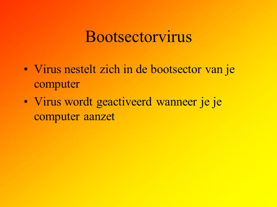 Bootsectorvirus Virus nestelt zich in de bootsector van je computer Virus wordt geactiveerd wanneer je je computer aanzet