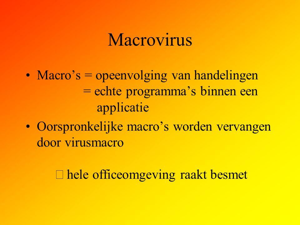 Macrovirus Macro's = opeenvolging van handelingen = echte programma's binnen een applicatie Oorspronkelijke macro's worden vervangen door virusmacro 