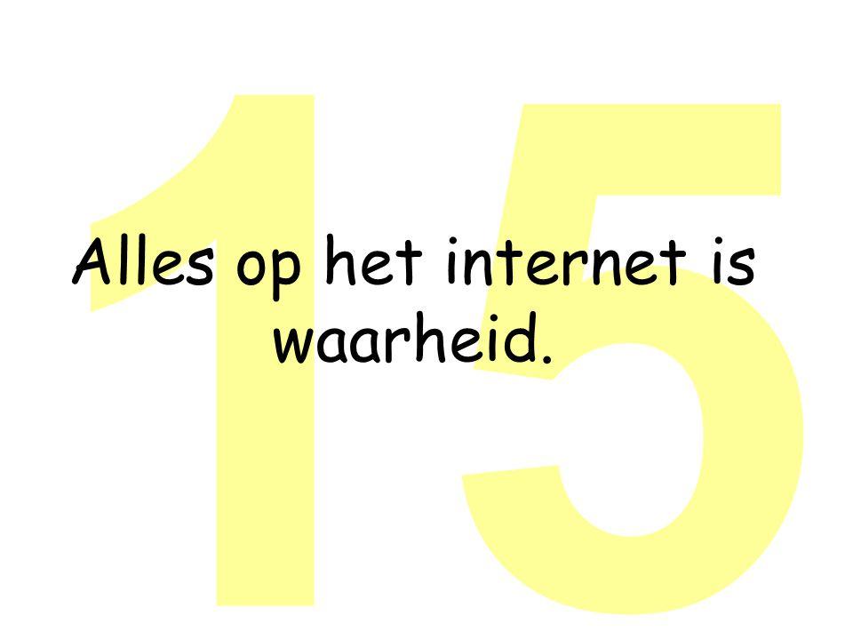15 Alles op het internet is waarheid.